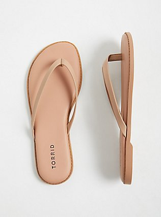 Nude Faux Leather Flip Flop (WW), NUDE, alternate