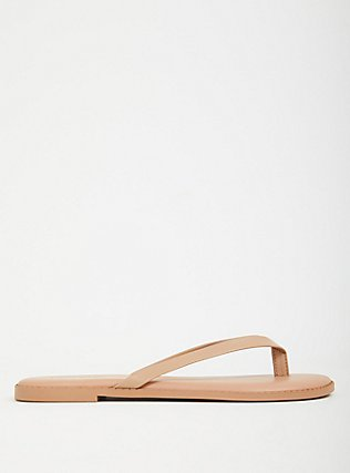 Nude Faux Leather Flip Flop (WW), NUDE, hi-res