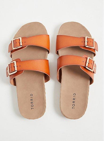 Plus Size Cognac Faux Leather Dual Strap Espadrille Slide (WW), COGNAC, alternate