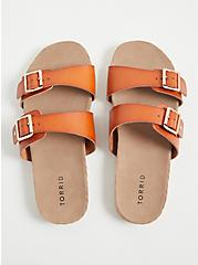 Cognac Faux Leather Dual Strap Espadrille Slide (WW), COGNAC, alternate