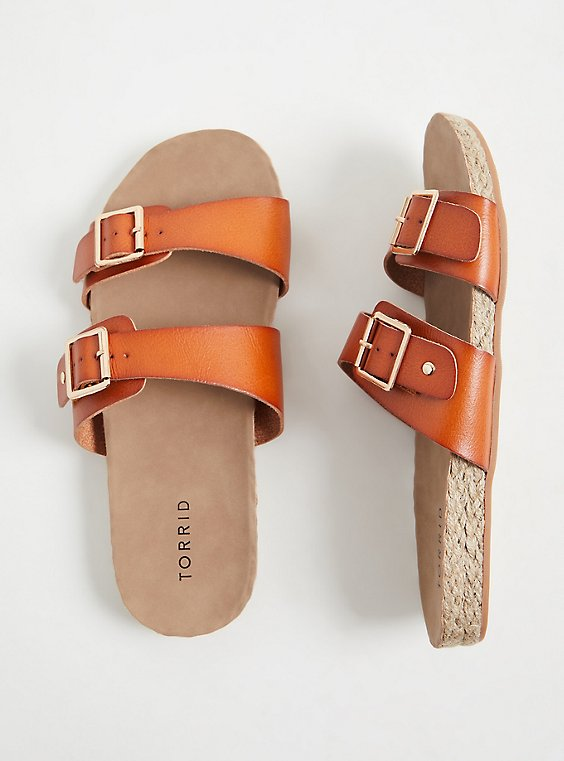 Cognac Faux Leather Dual Strap Espadrille Slide (WW), COGNAC, hi-res