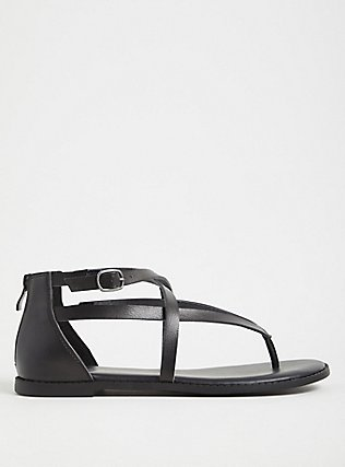 Black Faux Leather Crisscross Gladiator Sandal (WW), BLACK, alternate