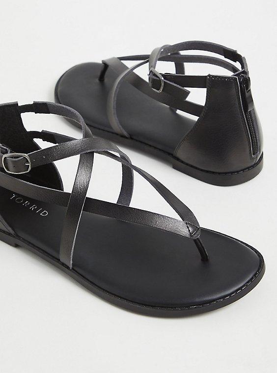 Black Faux Leather Crisscross Gladiator Sandal (WW), BLACK, ls