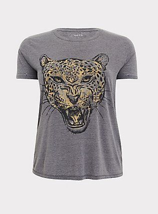 Leopard Relaxed Fit Crew Tee - Triblend Jersey Dark Grey, DEEP BLACK, flat