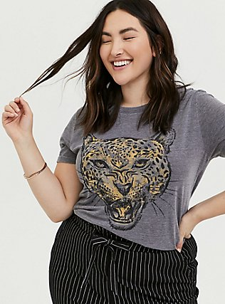 Leopard Relaxed Fit Crew Tee - Triblend Jersey Dark Grey, DEEP BLACK, hi-res
