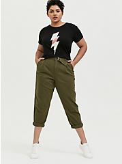 Lightning Bolt Relaxed Fit Crop Crew Tee - Triblend Jersey Black, DEEP BLACK, alternate