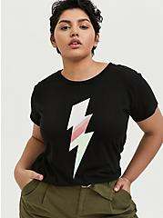 Lightning Bolt Relaxed Fit Crop Crew Tee - Triblend Jersey Black, DEEP BLACK, hi-res