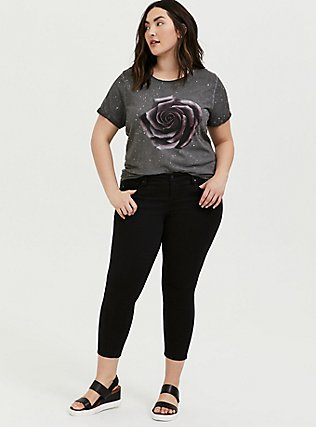Relaxed Fit Crew Tee - Triblend Jersey Floral Splatter Black, DEEP BLACK, alternate