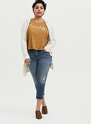 Livin' Easy Crop Relaxed Fit Crew Tee - Triblend Jersey Mustard Yellow , , alternate