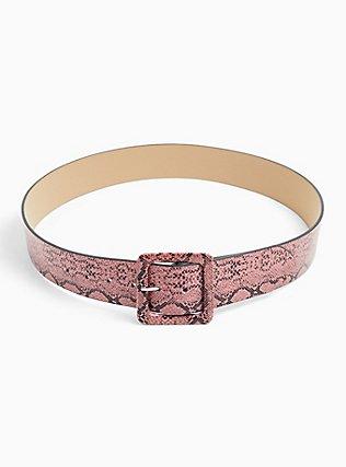 Pink Snakeskin Print Faux Leather Square Buckle Belt, BLUSH, alternate