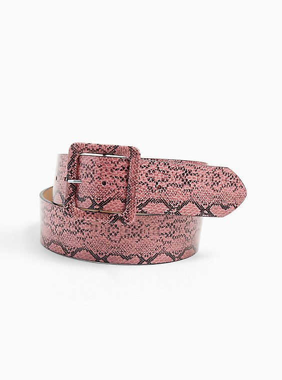 Plus Size Pink Snakeskin Print Faux Leather Square Buckle Belt, , hi-res