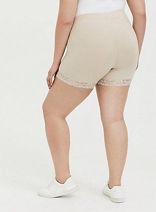 Nude Lace Trim Bike Short, NUDE, alternate