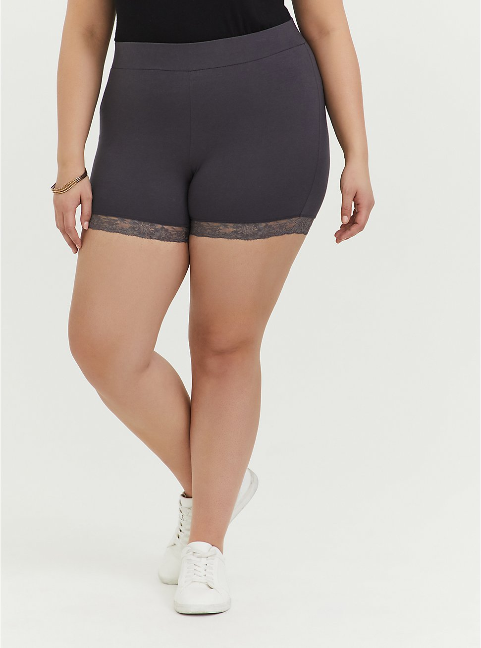 Dark Slate Grey Lace Trim Bike Short, GREY, hi-res