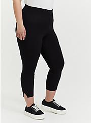 Crop Premium Legging - Side Slit Black, BLACK, alternate