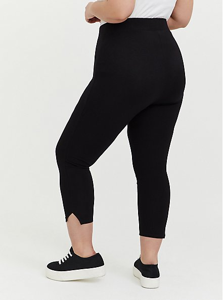 Plus Size Crop Premium Legging - Side Slit Black, BLACK, alternate