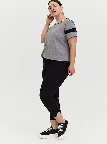 Plus Size Crop Premium Legging - Side Slit Black, BLACK, hi-res