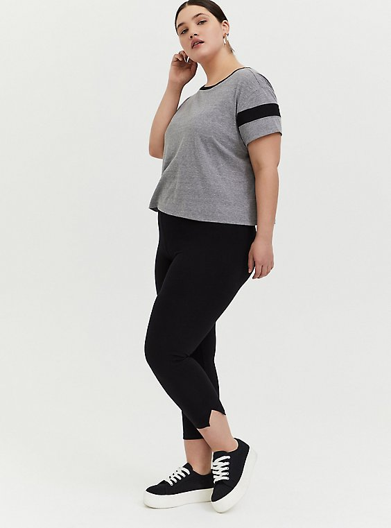 Plus Size Crop Premium Legging - Side Slit Black, , hi-res