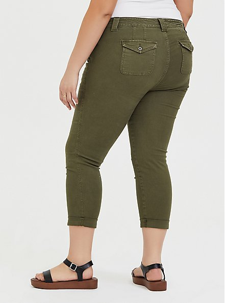 Crop Military Pant - Canvas Olive Green, ARMY GREEN, alternate