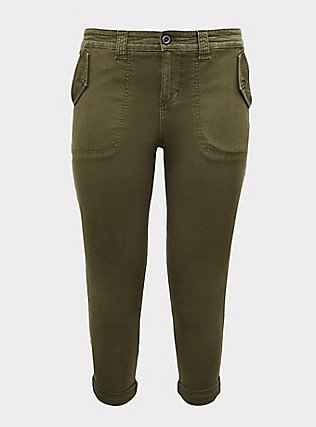 Crop Military Pant - Canvas Olive Green, ARMY GREEN, flat