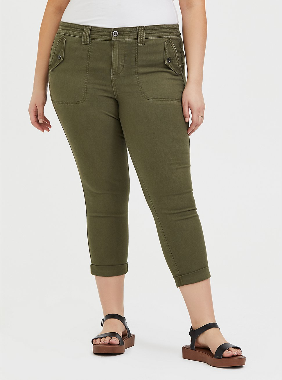 Crop Military Pant - Canvas Olive Green, ARMY GREEN, hi-res