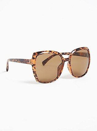 Plus Size Tortoiseshell Oversized Square Sunglasses, , alternate