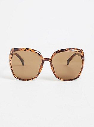 Plus Size Tortoiseshell Oversized Square Sunglasses, , hi-res