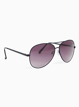 Black Metal Aviator Sunglasses, , alternate