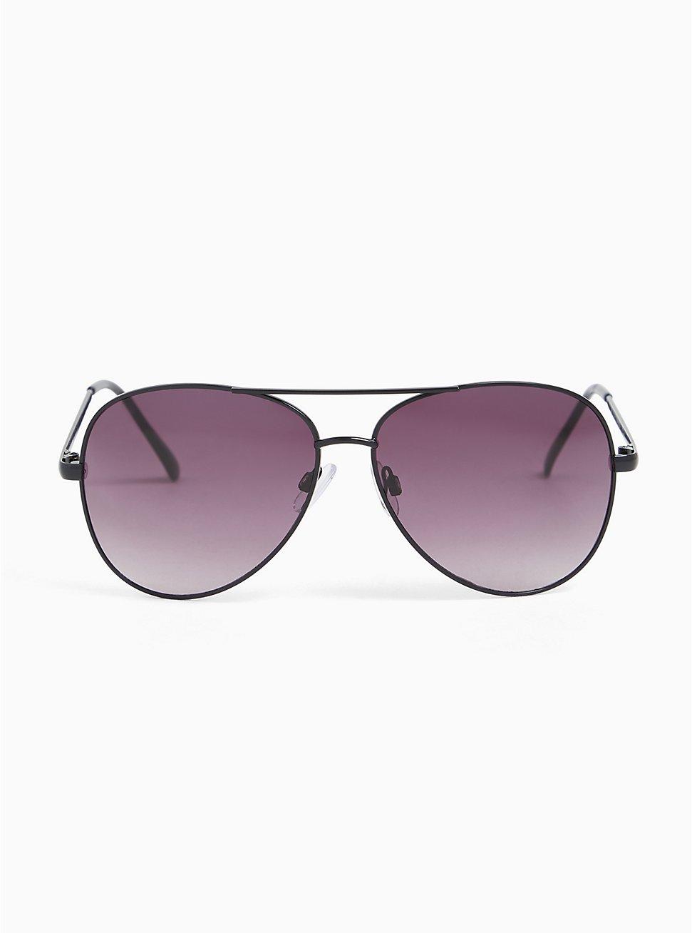 Plus Size Black Metal Aviator Sunglasses, , hi-res
