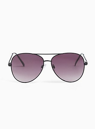 Black Metal Aviator Sunglasses, , hi-res