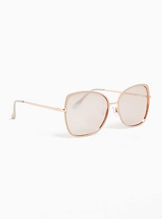 Taupe & Rose Gold-Tone Metal Square Sunglasses, , alternate