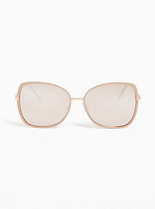 Taupe & Rose Gold-Tone Metal Square Sunglasses, , hi-res