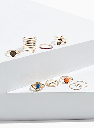Plus Size Gold-Tone & Orange Faux Stone Ring Set - Set of 9, GOLD, hi-res