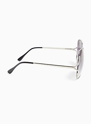 Silver-Tone & Black Ombre Cutout Sunglasses, , alternate