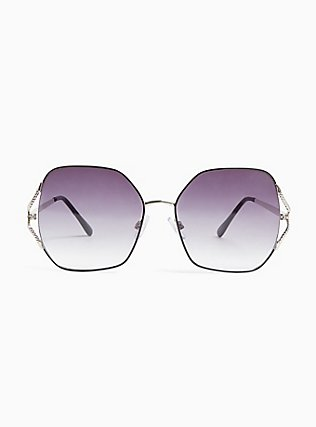Silver-Tone & Black Ombre Cutout Sunglasses, , hi-res