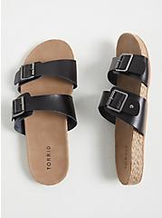 Black Faux Leather Dual Strap Espadrille Slide (WW), BLACK, alternate