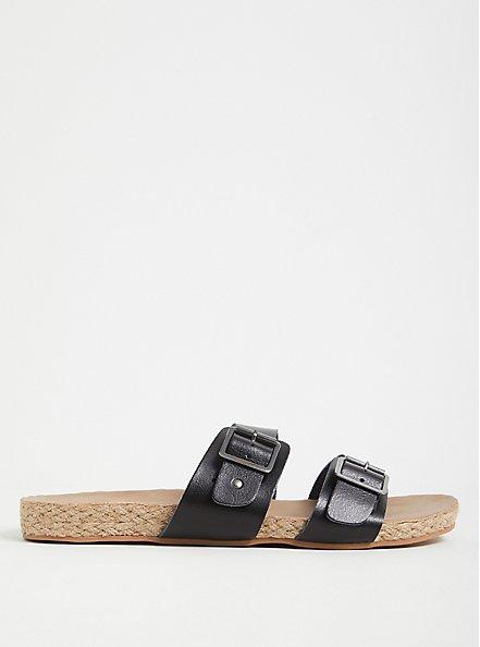 Black Faux Leather Dual Strap Espadrille Slide (WW), BLACK, hi-res