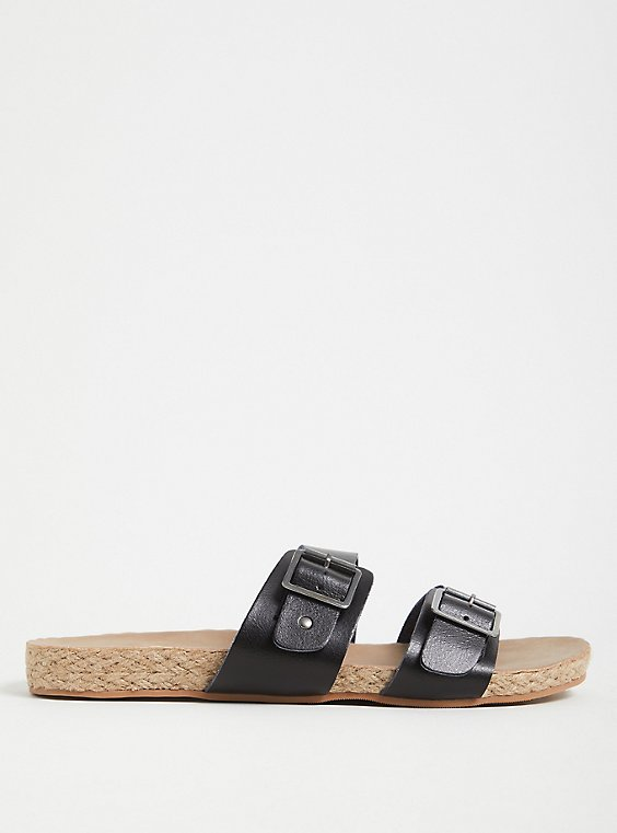 Black Faux Leather Dual Strap Espadrille Slide (WW), , hi-res