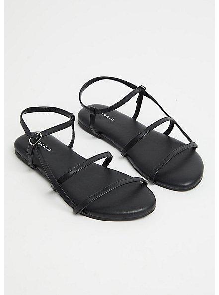 Plus Size Black Faux Leather Ladder Ankle Strap Sandal (WW), BLACK, alternate