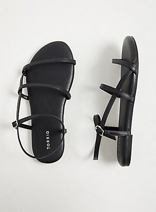 Black Faux Leather Ladder Ankle Strap Sandal (WW), BLACK, alternate