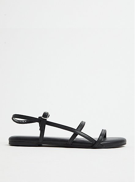 Plus Size Black Faux Leather Ladder Ankle Strap Sandal (WW), BLACK, hi-res
