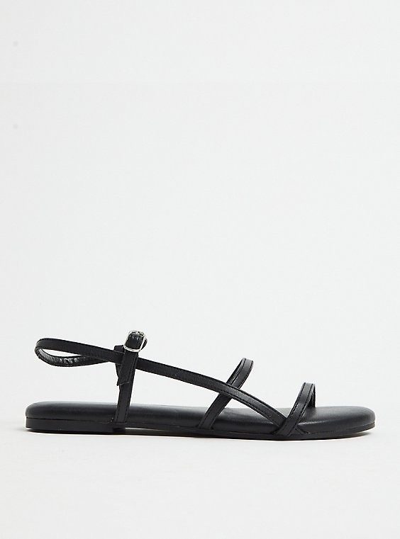 Black Faux Leather Ladder Ankle Strap Sandal (WW), , hi-res