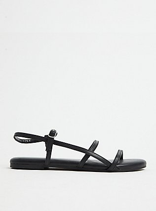 Black Faux Leather Ladder Ankle Strap Sandal (WW), BLACK, hi-res
