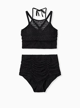 Plus Size Black Crochet Lightly Lined Wireless Halter Bikini Top, DEEP BLACK, alternate
