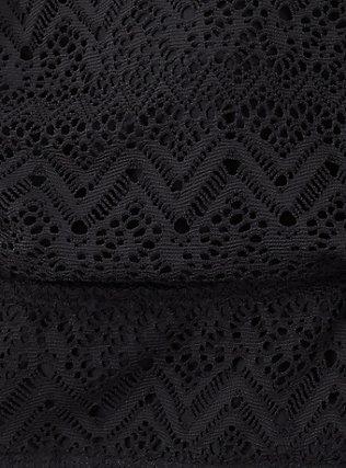 Black Crochet Lightly Lined Wireless Halter Bikini Top, DEEP BLACK, alternate