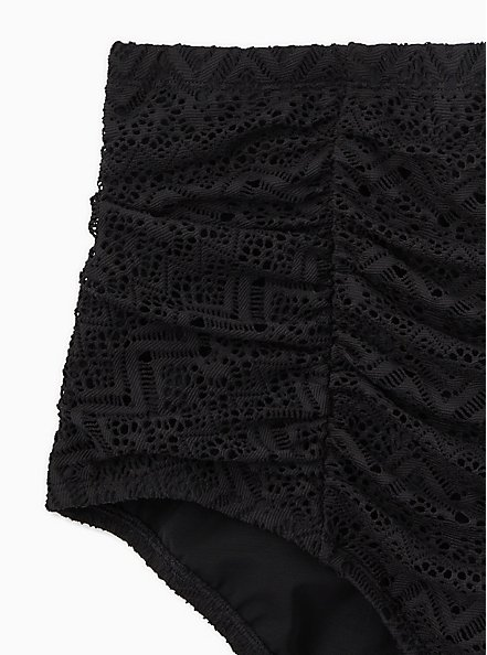 Plus Size Black Crochet High Waist Ruched Swim Bottom, DEEP BLACK, alternate