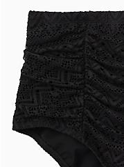 Black Crochet High Waist Ruched Swim Bottom, DEEP BLACK, alternate