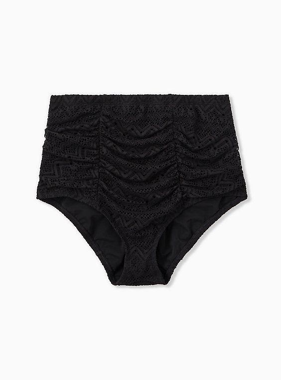 Black Crochet High Waist Ruched Swim Bottom, DEEP BLACK, hi-res