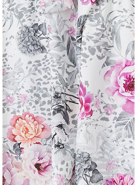 White Floral Tie Front Wireless Push-Up Tankini Top, MULTI, alternate