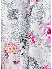 Plus Size White Floral Tie Front Wireless Push-Up Tankini Top, MULTI, alternate