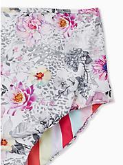 Coral Stripe & White Floral Reversible High Waist Swim Bottom, MULTI, alternate